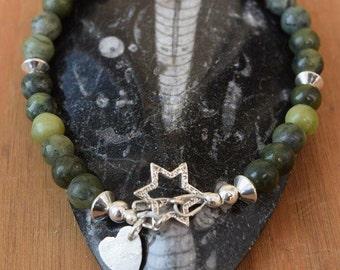 Jade and Sterling Silver Bracelet