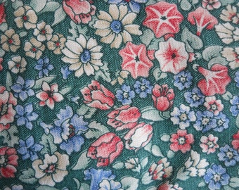 Green Ground Cotton Fabric, Marcus Bros Textile, 3-1/2 yards, Blue, coral, tan flowers, Country decor, curtains, quilts