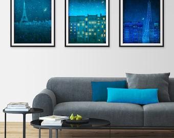 Any THREE Prints - Save 25%,Set of three Illustrations,Giclee Art print Home decor Nursery prints Kids wall art Wall decor ideas Paris decor