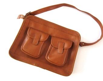 SALE Vegan Leather Bag / Messenger Bag / Faux Leather Satchel Bag / Vintage School Bag