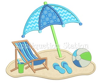 Beach Chair Umbrella Scene Applique Machine Embroidery Design Pattern ball sandals nautical ocean beach INSTANT DOWNLOAD