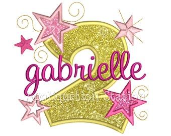 Star Number Two 2nd Birthday Applique Machine Embroidery Design second INSTANT DOWNLOAD