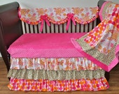Ruffled Scalloped rail guard and crib skirt baby crib bedding set. Can be made from any combination of fabrics!