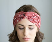 Muted Salmon, Pink, Abstract Floral Turban, Twist Headband, Head Wrap, Hair Accessory, Jersey Knit Turband
