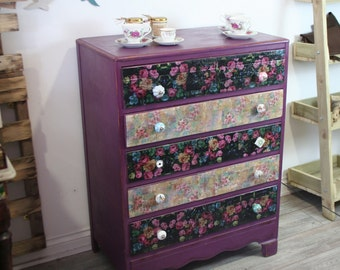 Decoupaged Floral Chest of Five Drawers, Distressed, Shabby Chic, Bedroom Drawers, Made to Order