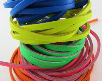 """Genuine Neon Leather Lace - Ball Glove Lace - 3/16"""" x 72"""" - 5 PACK!!"""
