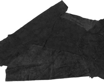 Black Suede Leather Scraps - 2LB Bag