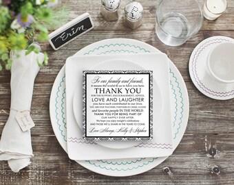 Custom Thank You Sign Wedding Reception Decor - Black & White Damask, Modern, Fancy Calligraphy, Romantic - 5x5 Square DIY Digital Printable