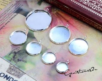 20pcs Bright Silver 10mm / 12mm / 14mm / 16mm / 18mm / 20mm / 10pcs 25mm Brass Cameo Base Setting Pendant