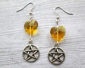 Pagan earrings, wiccan earrings, Pentacle earrings, pentagram earrings, heart charms, heart pentacle jewellery, pagan jewelry wiccan jewelry