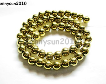 Natural Metallic Gold Hematite Gemstone Round Ball Beads 16'' Metallic Color 4mm 6mm 8mm 10mm For Jewelry Making Crafts