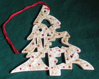 Rochester, handcrafted tree shaped ornament