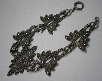 Vintage Sterling Silver Art Deco Marcasite Bracelet 8 Inches