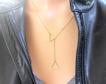 Triangle Charm Necklace / Personalized Jewelry, Lariat, Charm, Statement, Pesonalized, Holiday Jewelry Christmas Gifts