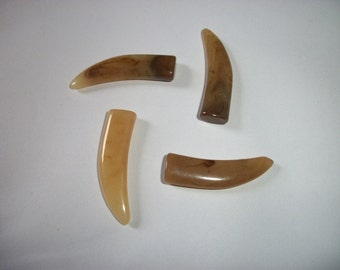 Acrylic Faux Light Brown and Milky Brown Horn x 4  # CC 8