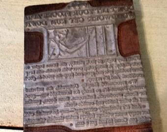 ON SALE Vintage Printing Block Wood Floor Advertisement Letterpress Wood Stamp 4 x 6 inches