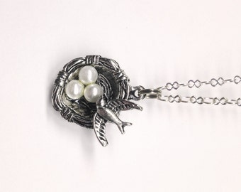 Antiqued Silver Birds Nest, White Pearls, Tiny Bird, Silver Chain, Lobster Claw Closure, Nature Necklace, Woodland, Animal Jewelry, Trending