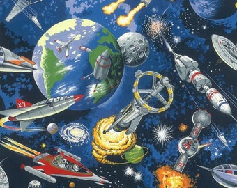 Fat Quarter Space Odyssey Space Ships 100% Cotton Quilting Fabric By Nutex