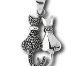 Cat Pendant, Sterling Silver with Marcasite, Only 2.00 SHIP