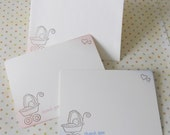Baby shower thank you cards, vintage stationery hand stamped with baby carriage and hearts, set of 10.