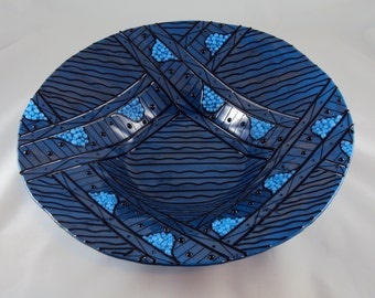 "Large blue and black ""zentangle"" inspired glass bowl"