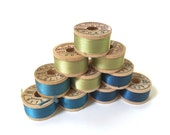 BELDING CORTICELLI - Vintage Thread - Pure Silk - Green #9040 - 10 yd Spools - Buttonhole Embroidery Ribbon Fly Tying