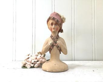 Antique German Doll - Head Torso - German Paper Mache - Pink Satin Ribbon Victorian - Half Doll - Flapper