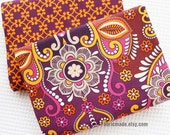 A B Quilting Cotton, Shabby Chic Cotton Fabric/ Large Purple Floral Bright Flower Cotton Fabric -1/2 yard