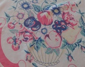 Sale Vintage Floral Tablecloth 1940s-50s Cottage Shabby Chic