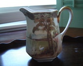 Vintage Nippon pitcher TN mark antique gilded pitcher collectible Nippon serving decorative pitcher hand painted Nippon