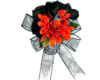 Halloween pumpkin gift bow/ Halloween party bow/ Black and orange Halloween birthday bow/ Large Halloween gift bow/ Gift wrapping bow/ (A79)