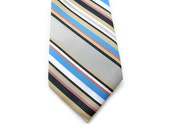 "60s Mens Necktie - Diagonal Stripes - Light Gray Black Gold Periwinkle Blue White Mauve Pink - 3 1/8"" - Striped Tie - Mens Necktie Ties"