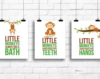 Little monkeys bathroom rules, Monkeys Decor, Jungle art prints, Kids Art, Bathroom decor, Bathroom rules art, monkeys bathroom art, A-3056