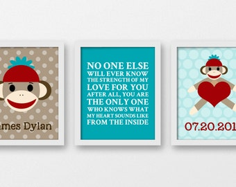 Sock monkey art, no none will ever know the strength of my love, baby art prints, sock monkey Kids Decor, Kids Art, nursery prints, A-3057