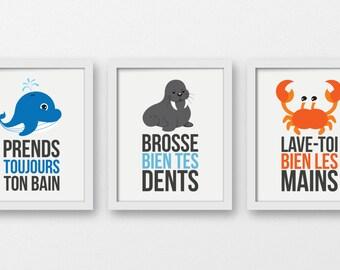 Règles de la salle de bain art, prends ton bain, lave tes mains, brosse tes dents, décor enfants, décor nautique, imprimés muraux nautiques