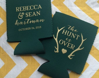 Antler wedding coolers, The Hunt is Over Fancy Wedding can coolie, hunter theme wedding favor, country wedding favors
