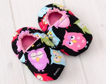 Best Shoes for Walking - Size: 6-12 Months - Owls - Infant Girl Shoes - Baby Shoes for Girls - Toddler Girl Shoes - 1297