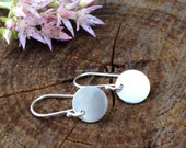 Sterling Silver Round Earrings. Small Round Circles. Simple Silver Dangle. Petite - Shiny and Bright - Everyday Earrings.