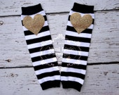 Gold heart baby leg warmers - Black and white stripe leg warmer, baby leg warmers- Sparkle leg warmers