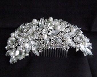 Large Rhinestone Hair Comb, Bridal Hair Comb, Rhinestone Crystal Bridal Hair Accessories, Rhinestone Wedding Hair Comb, Wedding Hair