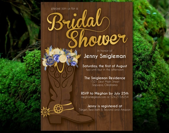 Boots Wedding Invitations: Items Similar To PRINTABLE Western Bridal Shower