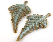 NEW** Blue Patina Leaf Pendant over Antique Bronze, Verdigris Pendant, Oxidized/Rusty Effect -2 pieces // ABP-055