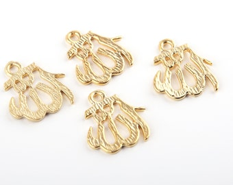 Arabic Calligraphy Allah / God Small Pendants, Gold Allah Charms, 22K gold plated, 4 pcs // Gch-165