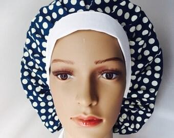 Bouffant Surgical Scrub Hat - White Polka Dots on Blue Bouffant scrub hat - Ponytail Scrub hat - Custom Scrub Hat - Personalized Scrub hat