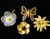 4 Vintage Brooch Pin Monet Signed Dogwood Flowers Butterfly Fashion Gold Tone Enamel Faux Pearl Faux Onyx