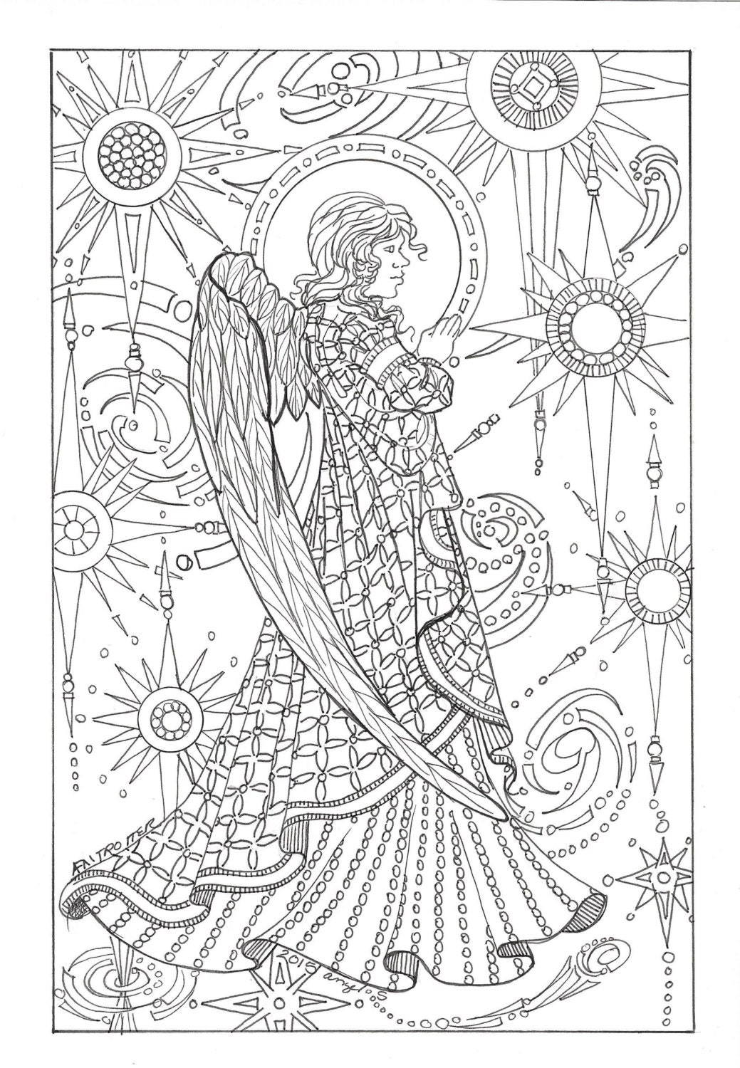 Coloring digital download angel amoung the by for Coloring page angel