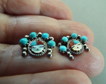 Petit point  Zuni inlaid sunface stud  earrings sterling silver southwest