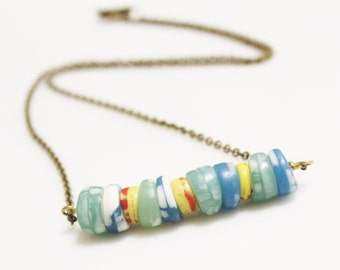 Colorful African Kakamba Bead Necklace, Trade Beads Necklace, Ethnic Jewelry, Tribal Jewelry