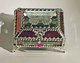 Butterfly Carved Glass Jewelry Box -  Faberge Style