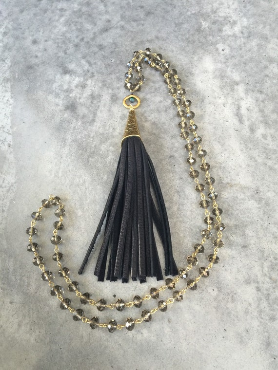 Black leather tassel with with Crystal necklace